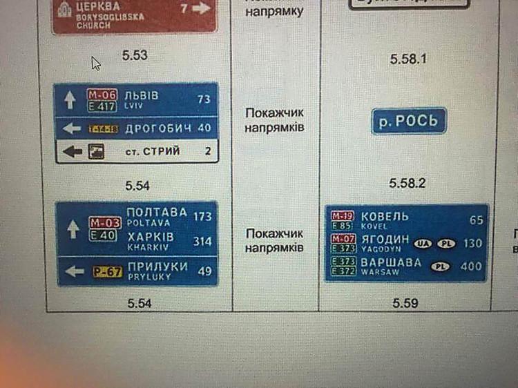 ВУкраинском государстве поменяются информационно-указательные знаки на трассах