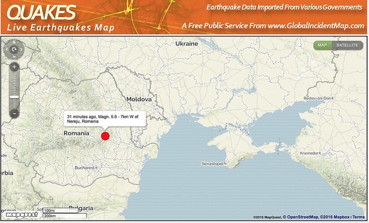 Румынию всколыхнуло землетрясение магнитудой 5,6, толчки ощущались вУкраинском государстве
