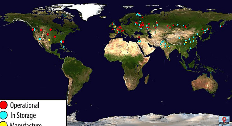Блогеры показали карту срасположением ядерных бомб повсей планете